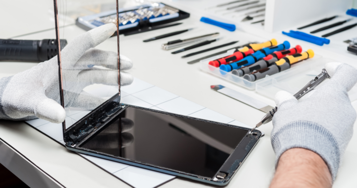 Close-up photos showing process of tablet device repair